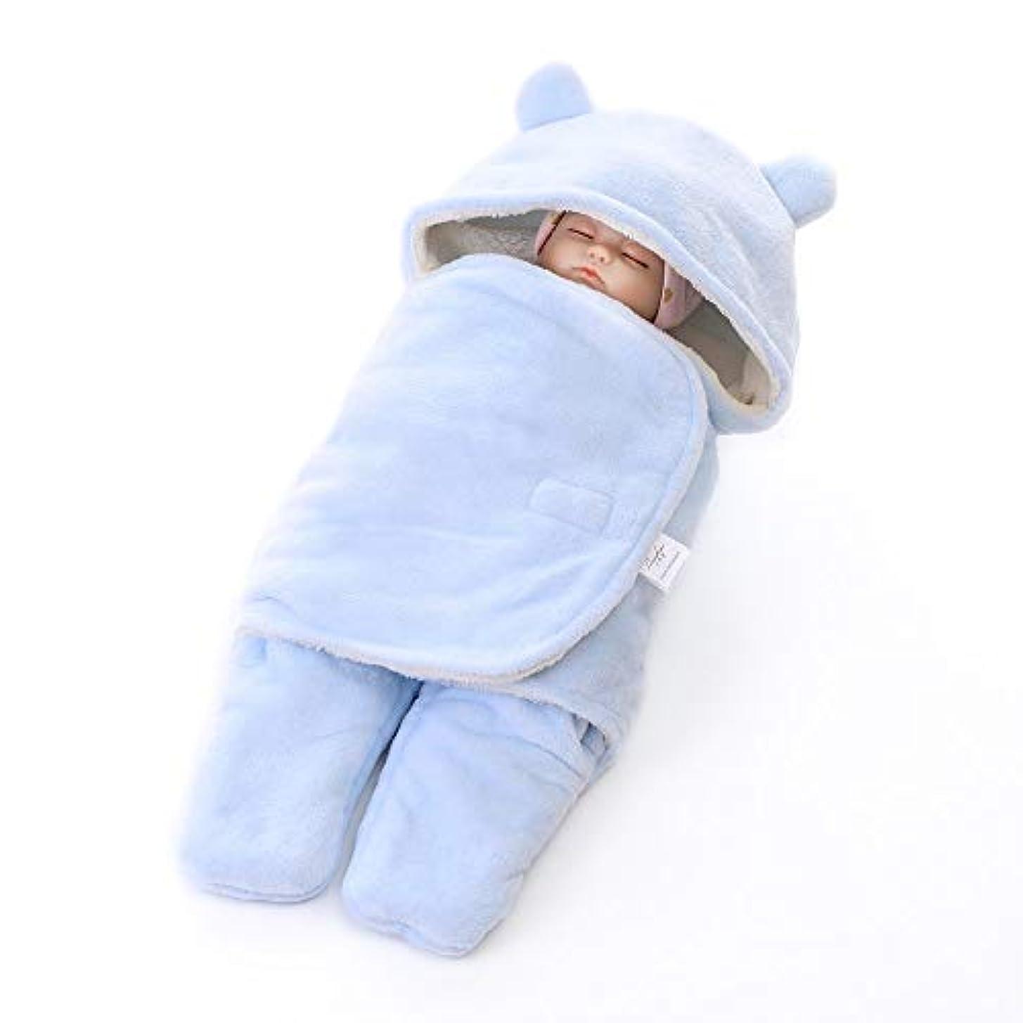 途方もないロケーション社会主義ベビー寝袋 かわいい生まれたばかりの赤ちゃんの男の子と女の子は、白いつつく毛布ぬいぐるみ毛布ニュートラルパーカーフード付き 新生児睡眠カプセル (色 : 青, サイズ : 65X75cm)