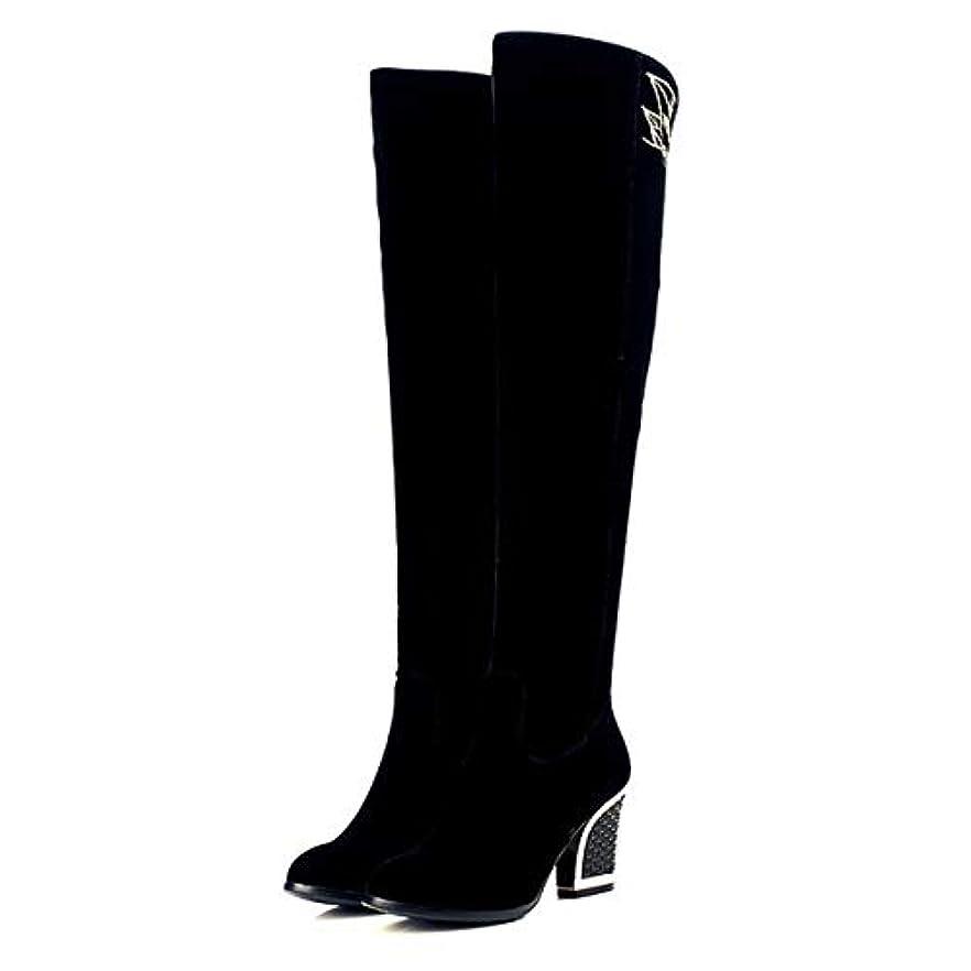 他のバンドでするまばたきレディースブーツ冬の刺繍民族ヴィンテージスタイルの膝ブーツレディースブロックヒールノースリップブーツ黒