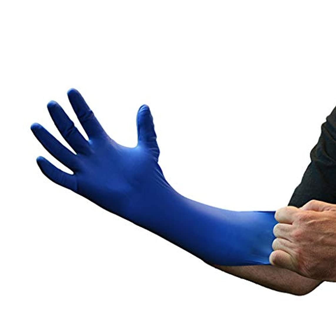 消化器不快な変動する使い捨てニトリル手袋耐久性のあるニトリルダークブルーパウダーフリー厚い実験室耐性溶剤酸とアルカリ YANW (色 : Dark blue, サイズ さいず : Xl xl)