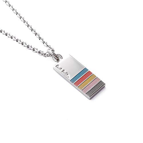[ポールスミス] Paul Smith 正規品 ネックレス マルチストライプ プレート ロゴ チェーン ショップバッグ付き (マルチカラー)