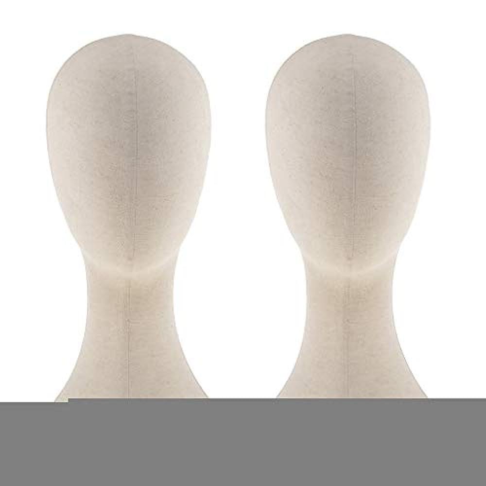 それによって教養がある多数のT TOOYFUL キャンバス マネキン ヘッド トルソー 頭 カット練習 頭部 女性 ウィッグマネキン ウィッグスタンド2個