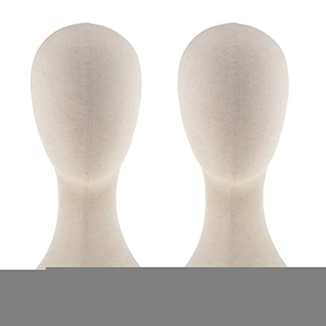 ブレス有能な悪性のT TOOYFUL キャンバス マネキン ヘッド トルソー 頭 カット練習 頭部 女性 ウィッグマネキン ウィッグスタンド2個