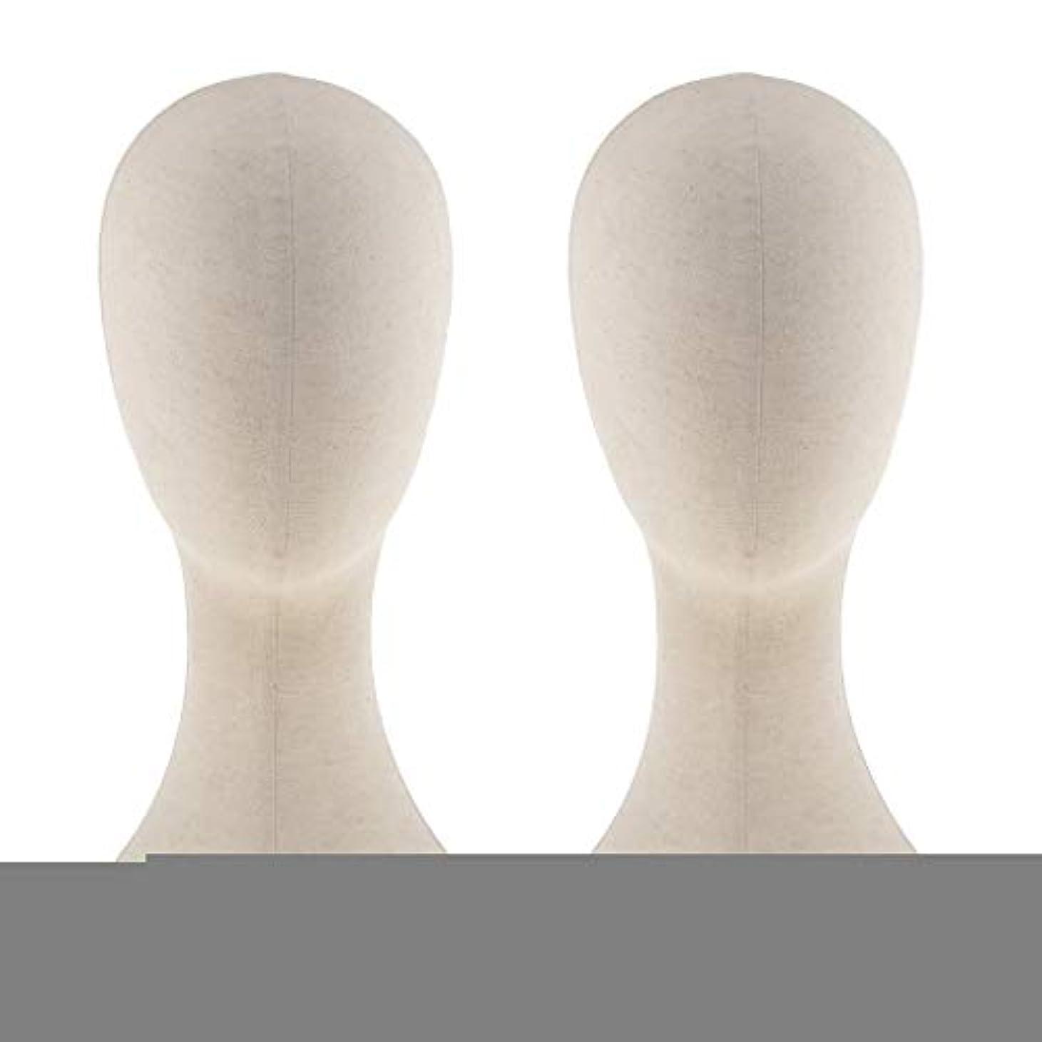 焦げライブ直面するT TOOYFUL キャンバス マネキン ヘッド トルソー 頭 カット練習 頭部 女性 ウィッグマネキン ウィッグスタンド2個