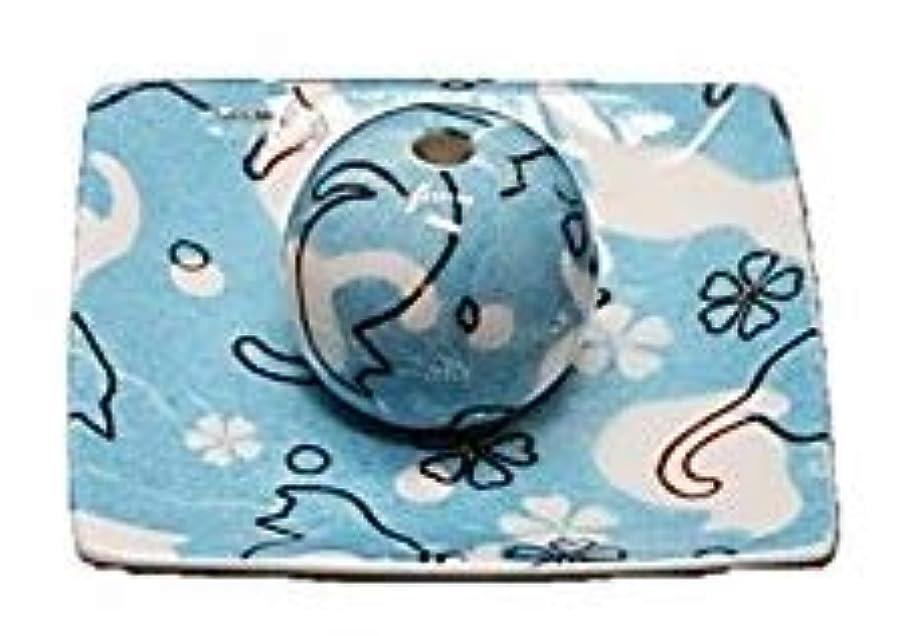 先のことを考える水星めったにネコ ランド 青 小角皿 お香立て 陶器 ねこ 製造 直売