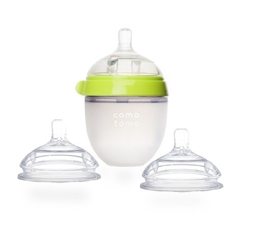 Comotomo Natural Feel Set - Single Pack Green 5 oz Baby Bottle, Plus Extra Pack Slow Flow Nipples