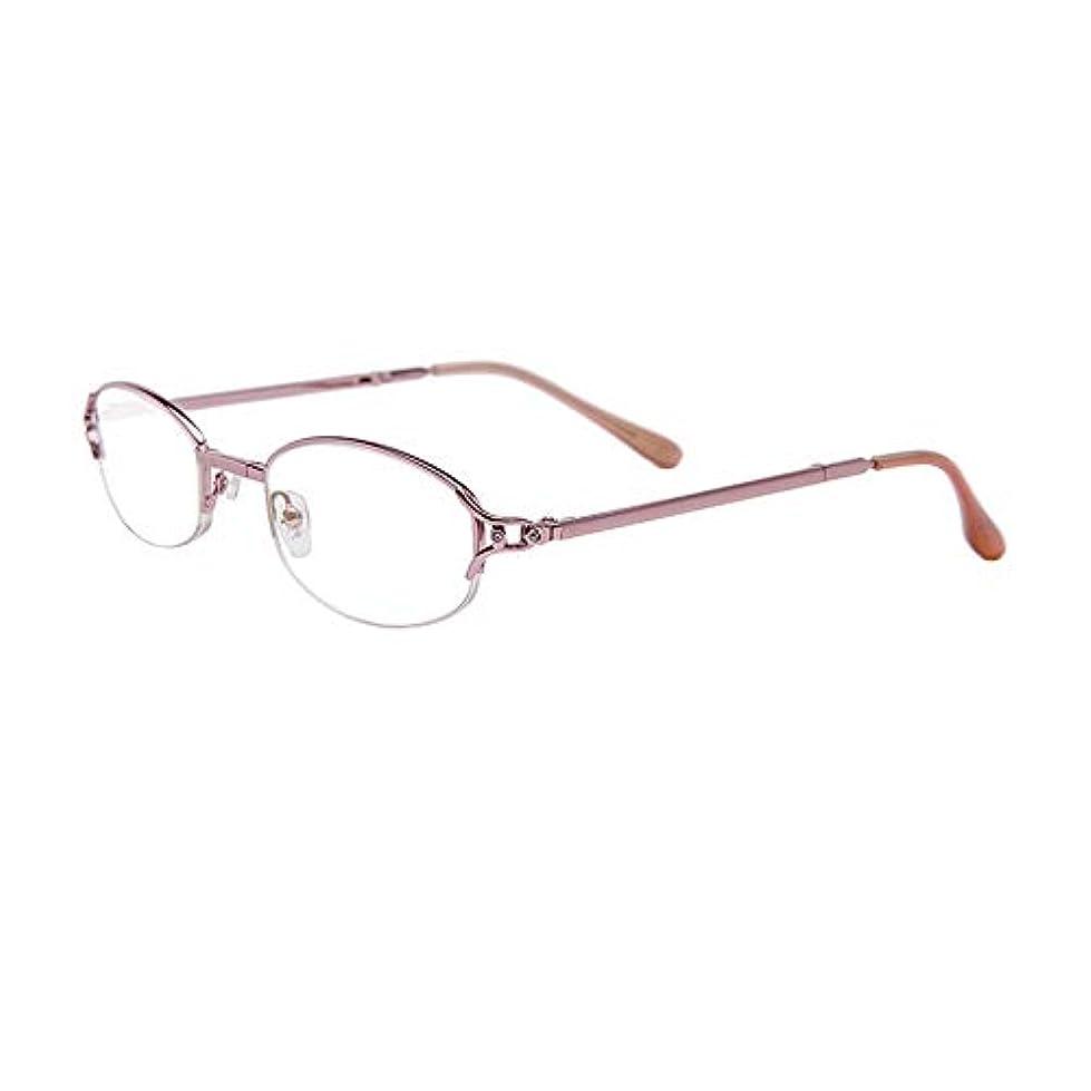 スタイリッシュでエレガントな折りたたみ老眼鏡の金属ハーフフレーム樹脂レンズ,+3.0