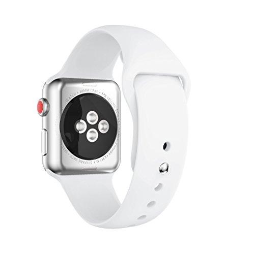 For apple watch band,YAYUU アップルウォッチシリーズ3、シリーズ2、シリーズ1、スポーツ、エディションのためのソフトシリコン調整可能な交換バンド (white, 38MM)