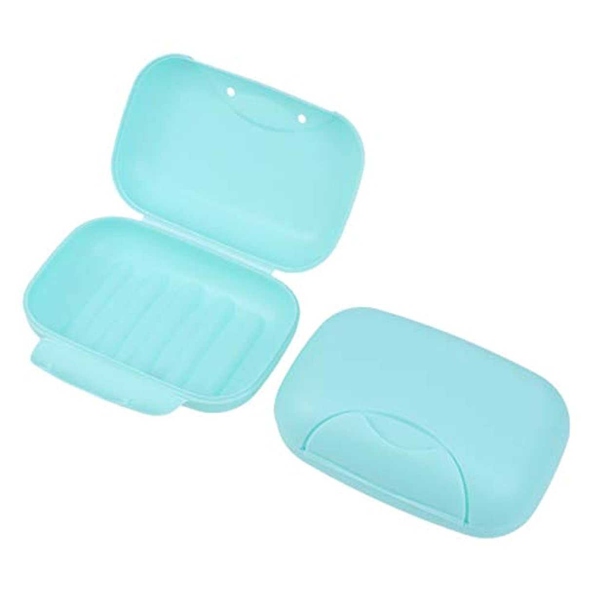 統計さびたシーンHealifty 旅行用ソープボックス防水石鹸皿ソープホルダー2個(青)