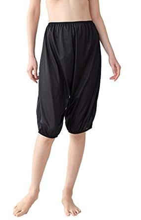 [ジャコンヌ] トイレで便利な裾ゴム入り ペチパンツ ペチコート (60cm丈) M ブラック 2765