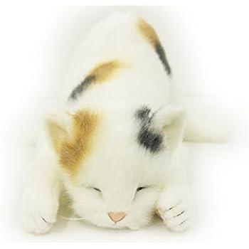 日本製 リアルな猫のぬいぐるみ 58cm (ミケネコL眠り)