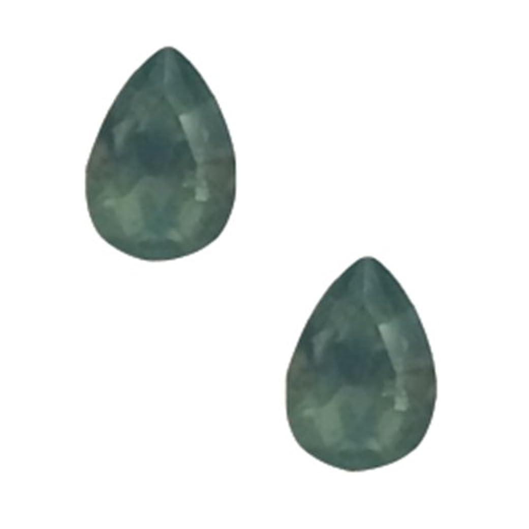 緩やかな鉱夫不快なPOSH ART ネイルパーツ涙型 4*6mm 10P グリーンオパール