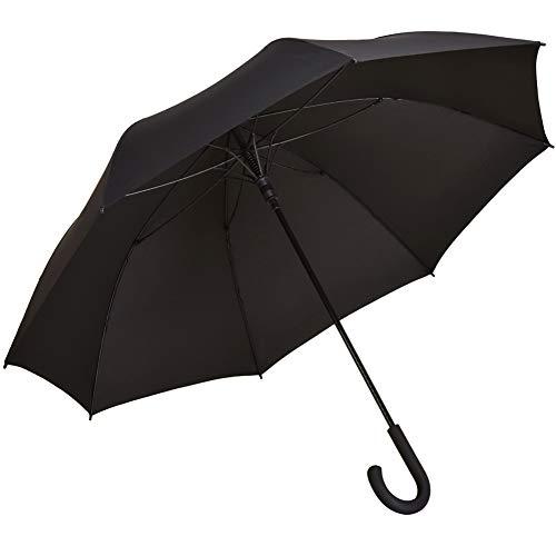 長傘 メンズ レディース 丈夫 PETTOYA ワンタッチ式 グラスファイバー製 雨傘 超軽量 撥水 耐風 紳士傘 大型 (ブラック)