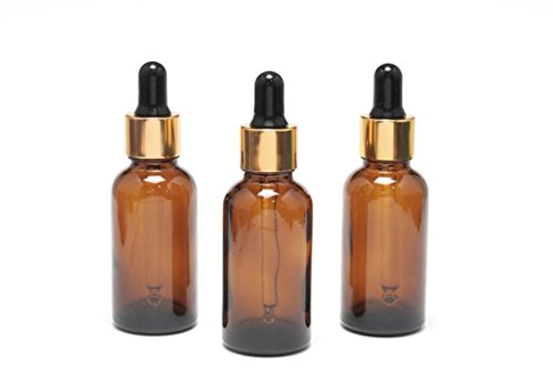 スロープ合理的櫛遮光瓶 エッセンシャルオイル用 (グラス/スポイトヘッド) 30ml アンバー/ゴールド&ブラックヘッド 3本セット 【 新品アウトレットセール 】
