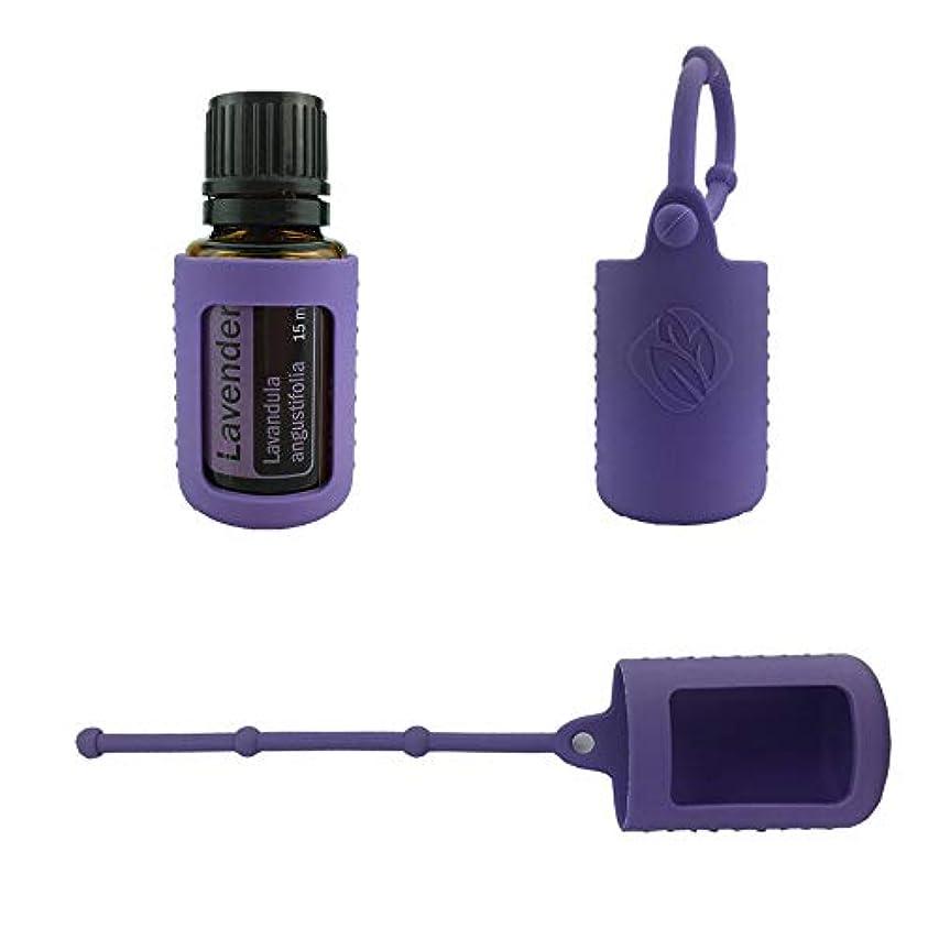 アナログ応用ダイヤモンド6パック熱望オイルボトルシリコンローラーボトルホルダースリーブエッセンシャルオイルボトル保護カバーケースハングロープ - パープル - 6-pcs 5ml