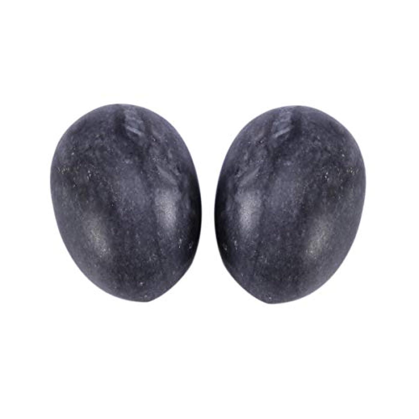 実際にフィッティング等しいHealifty 6PCS翡翠Yoni卵マッサージ癒しの石のケゲル運動骨盤底筋運動(黒)