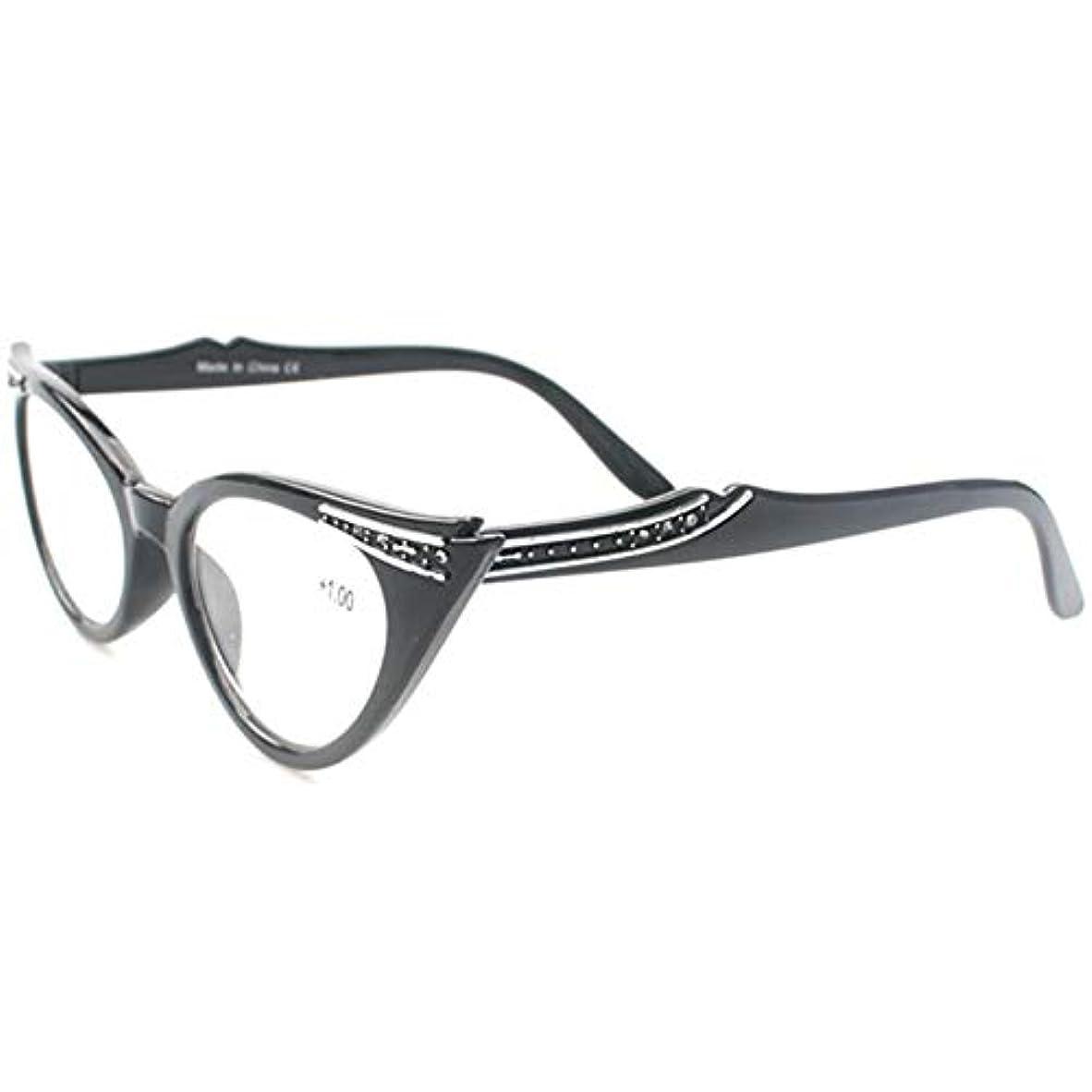 先入観遡る住人FidgetGear 眼鏡女性ヴィンテージキャットアイ読者ラインストーン付きメガネを読む新しい 黒