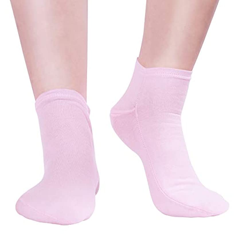 コマース行為座るFrcolor ジェルソックス 靴下 保湿 足保護 かかとケア 乾燥 角質ケア 美容 潤い 柔らかい 対策 男女兼用 旅行用 1足(ピンク)