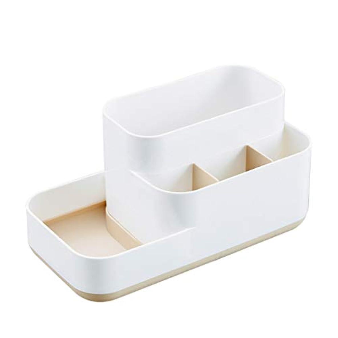 すずめマントわざわざデスクトップマルチメディア化粧品収納ボックス多機能プラスチックボックスリビングルームのコーヒーテーブル仕上げボックス (Color : Apricot)
