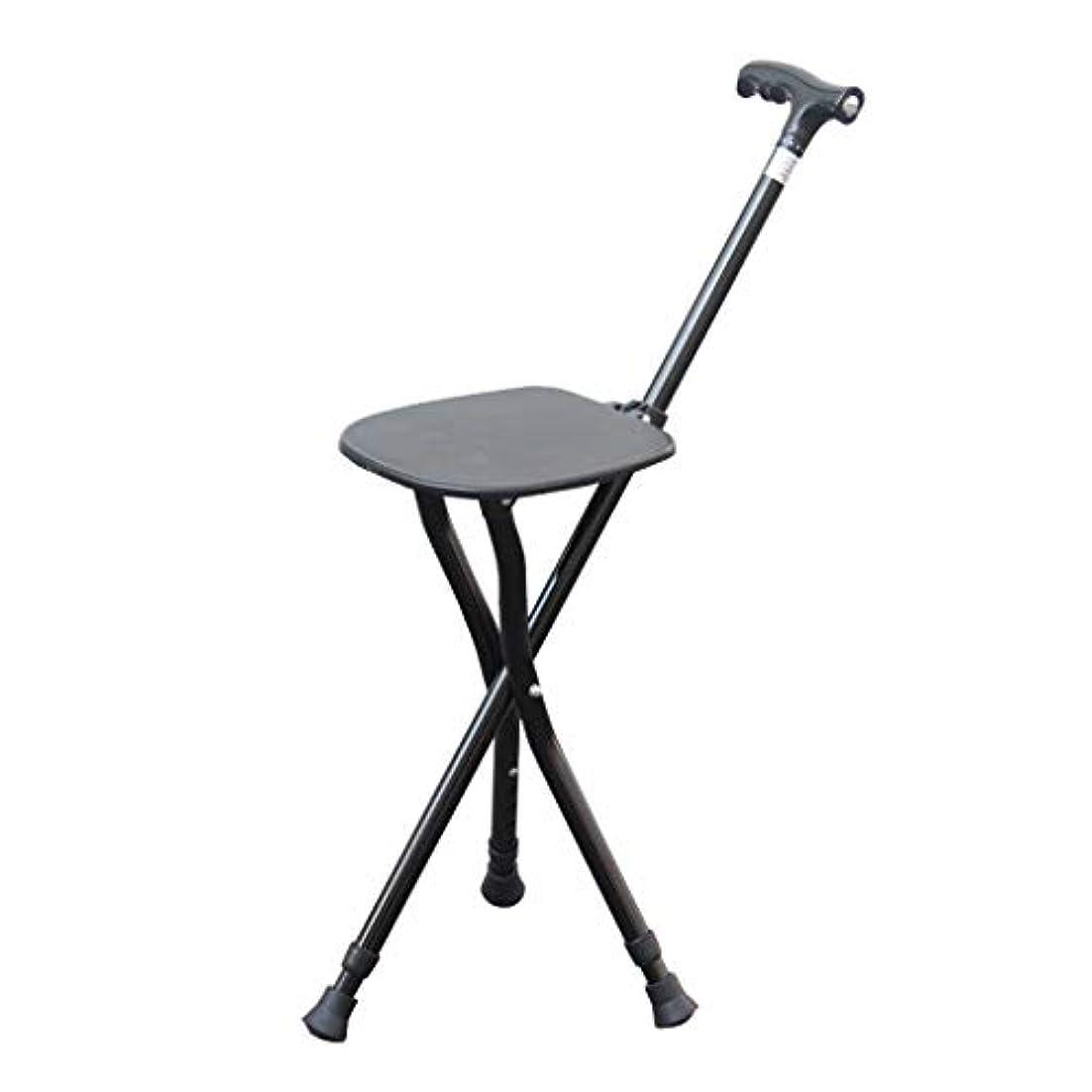 ファシズム降下乱用滑り止めベース付き多機能ブラック松葉杖シートウォーキングスティック、高齢者のための人間工学的のハンドル調節可能な高さレベルLEDライトとモビリティ杖