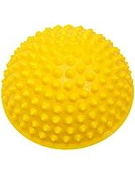 マッサージボール ストレッチボール トゲトゲ 半球 筋膜リリース トレーニング 足つぼ ツボ押しグッズ (イエロー)