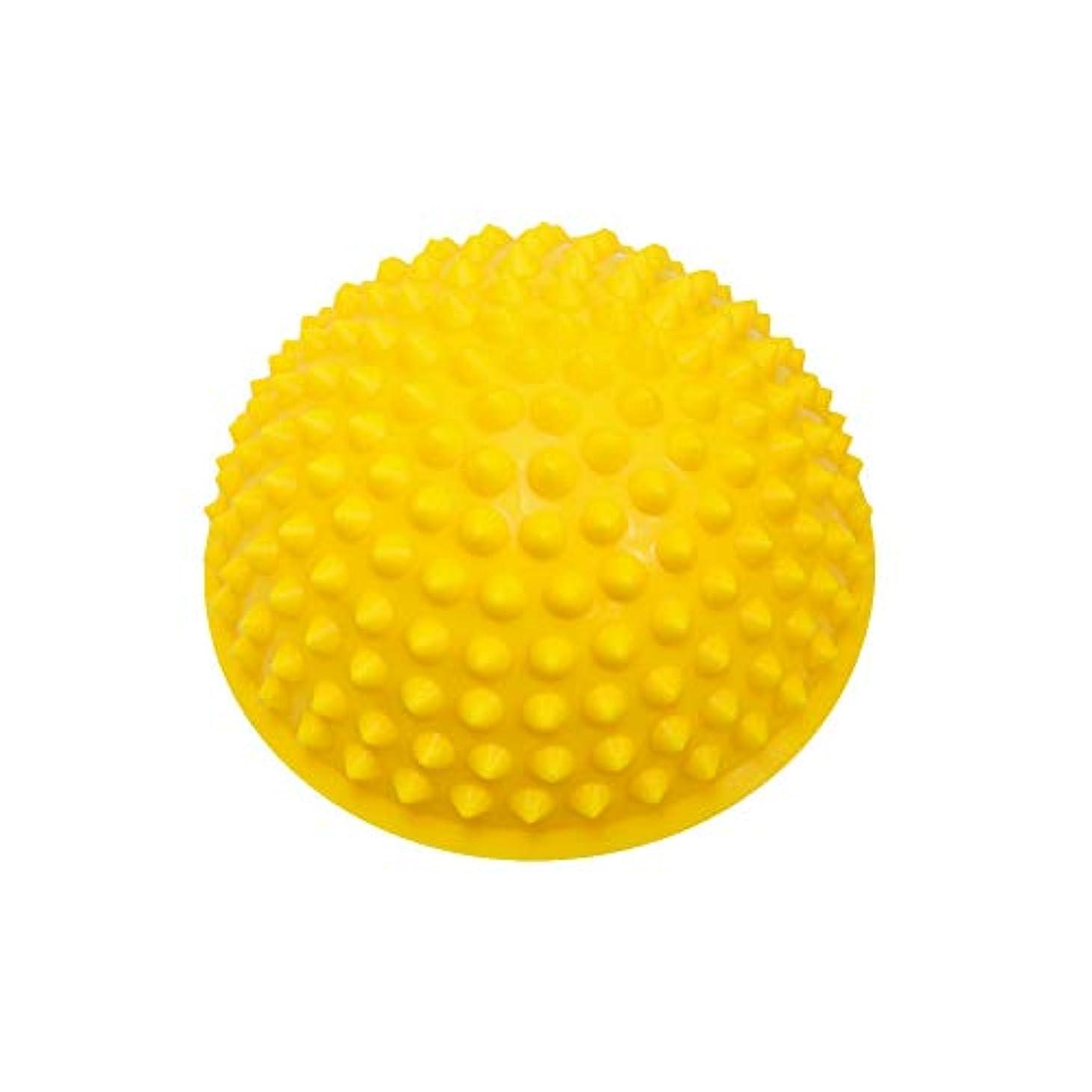 常習者意気揚々に慣れマッサージボール ストレッチボール トゲトゲ 半球 筋膜リリース トレーニング 足つぼ ツボ押しグッズ (イエロー)
