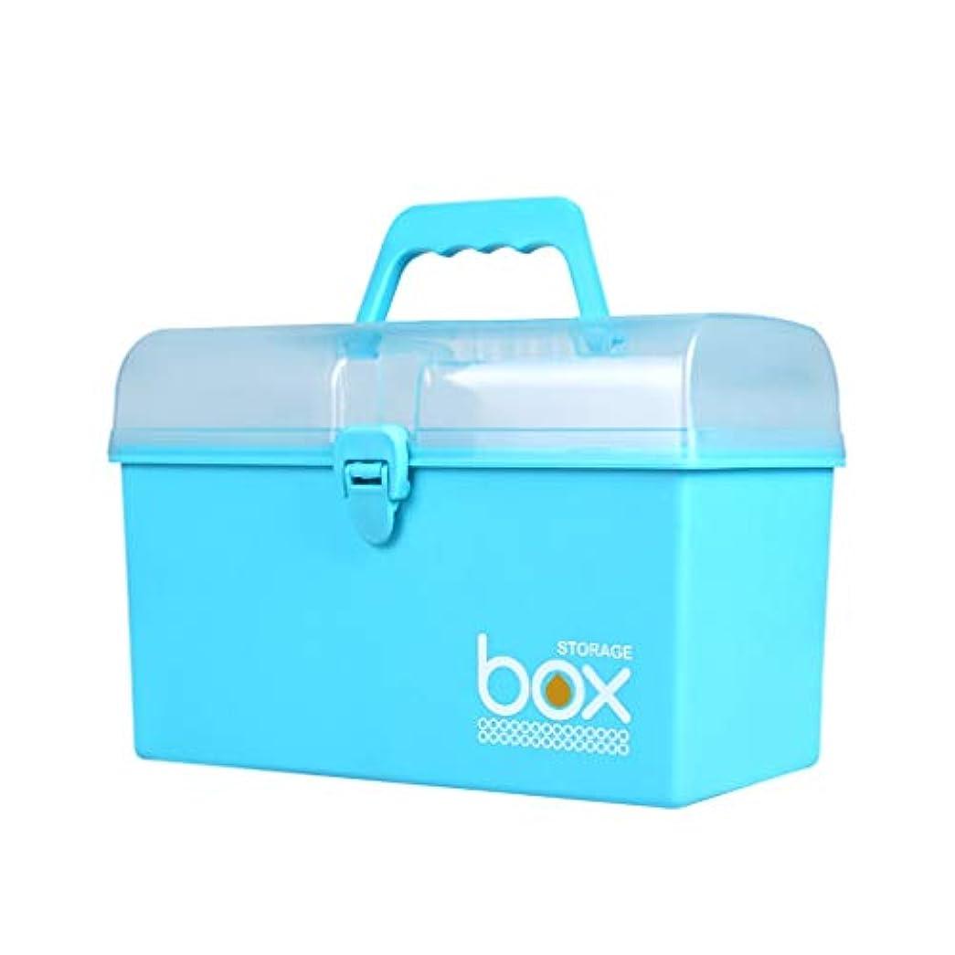 天才立ち寄る主張家庭用薬箱子供用薬箱多層薬箱薬薬収納ボックス箱大応急処置箱医療キット LIUXIN (Color : Blue, Size : 27.5cm×15.7cm×19cm)