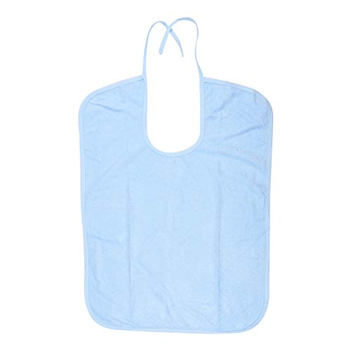 大人のよだれかけ、再使用可能および洗える防水よだれかけは機械きれいになり、乾燥したきれいにすることができます。大人の高齢者のための任意パン粉キャッチャー(ブルー+ M)