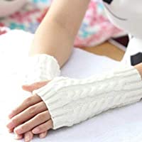 Gloves Women Sleeve Twist Arm Knitted Short Arm Warm Fingerless High The Cuff Gloves Keep Winter Elastic Solid Wool Warmers Arm, 1 Pair(Black) (Color : White)