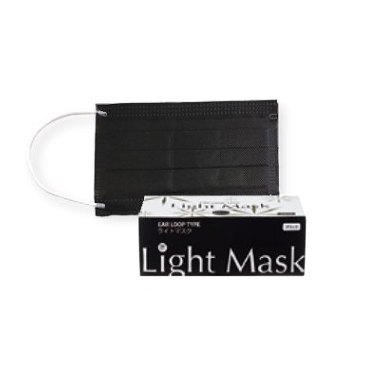 博覧会花に水をやる不忠(ロータス)LOTUS ライトマスク (不織布 無地 2層 マスク 50枚入)(ブラック)花粉症対策