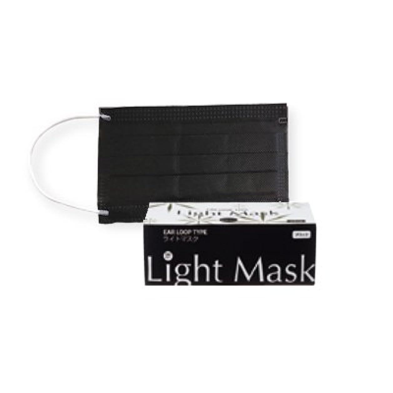 子供達外部リレー(ロータス)LOTUS ライトマスク (不織布 無地 2層 マスク 50枚入)(ブラック)花粉症対策