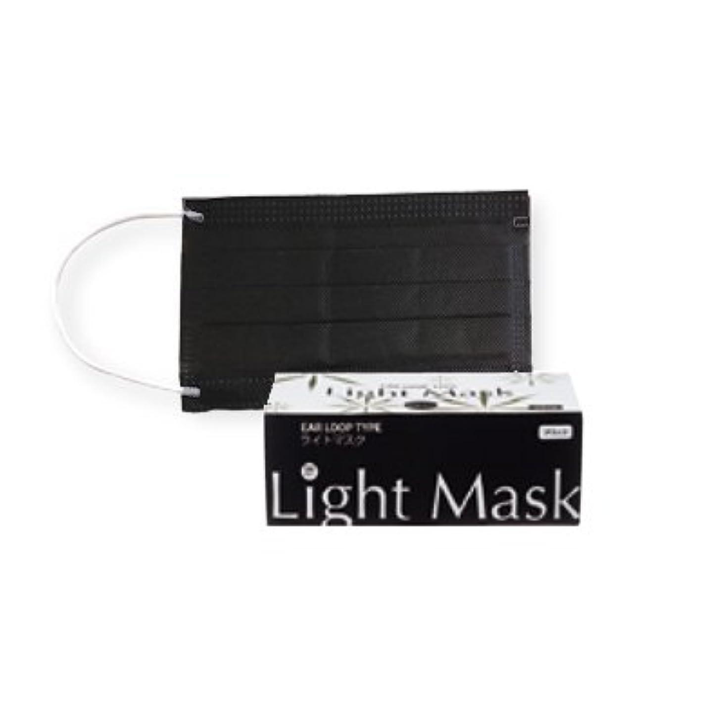 踏み台偽善者激しい(ロータス)LOTUS ライトマスク (不織布 無地 2層 マスク 50枚入)(ブラック)花粉症対策
