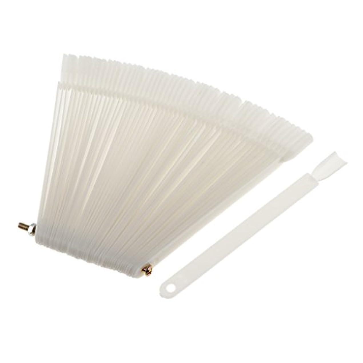 名前で回想プラスチック約50ピース ネイルヒント 磨きネイルアートチップ ポップカラースティック ディスプレイ ファンキット 3色選べ - 白