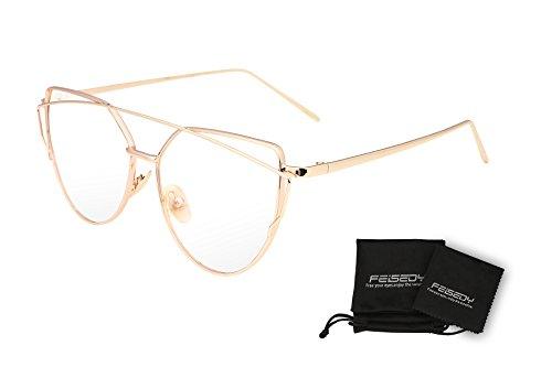 FEISEDYファッション キャットアイサングラス女性透明レンズ猫目サングラスレディース