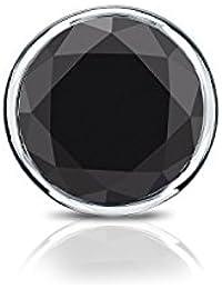 18 Kゴールドbezel-setラウンドブラックダイヤモンドメンズシングルスタッドイヤリング( 1 / 4 – 1 CT、ブラック) screw-back