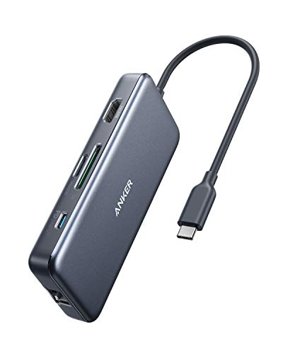 Anker PowerExpand+ 7-in-1 USB-C PD イーサネット ハブ【4K対応HDMI出力ポート / 60W出力 Power Delivery 対応USB-Cポート / 1Gbps イーサネット / 2つの USB-A ポート/microSD & SDカード スロット搭載 】 MacBook Pro 2017 & 2018 / ChromeBook 他対応