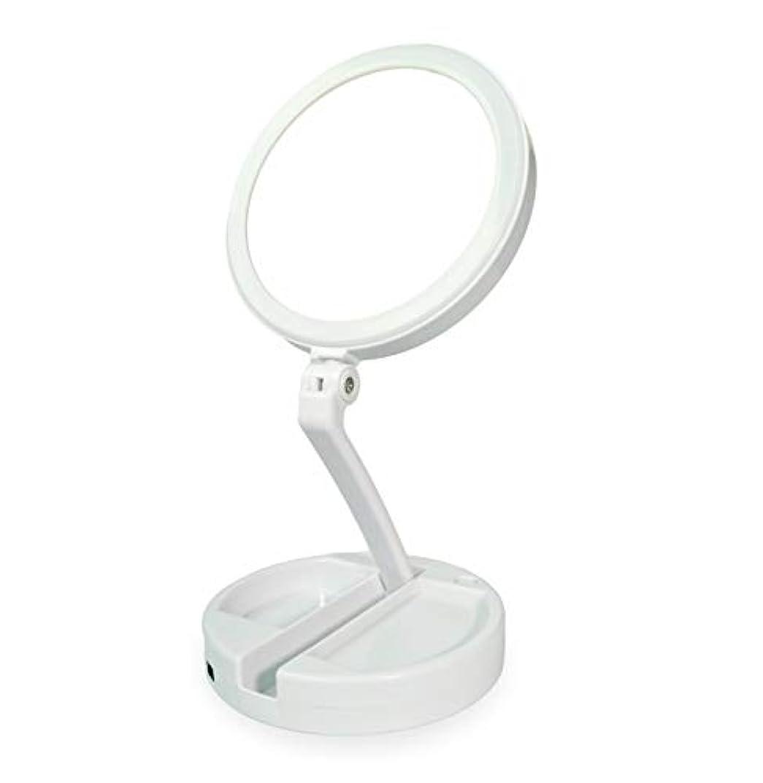 ハイランド打倒知性化粧鏡 拡大鏡 化粧 等倍と10倍拡大鏡 ledライト付き 無段階調光 折りたたみ式 360°回転 高さ調整可 収納しやすい 化粧用鏡 卓上鏡