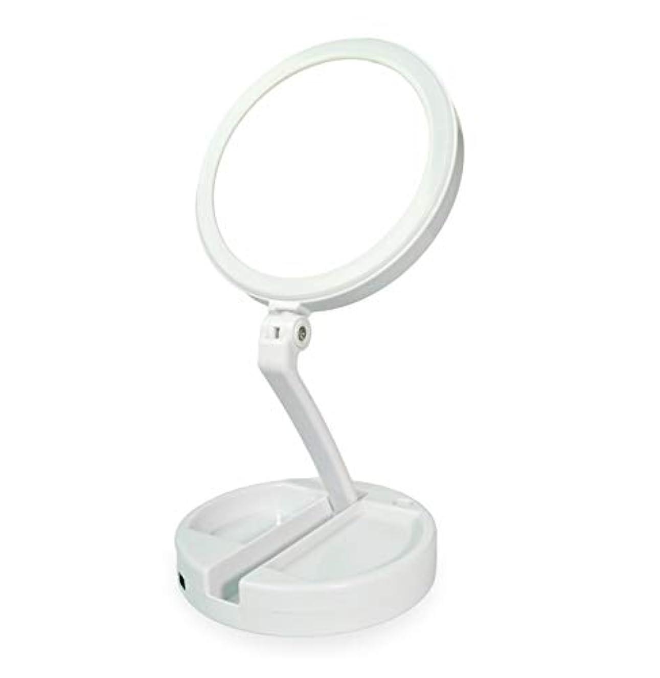 渦サイクル晩ごはん化粧鏡 拡大鏡 化粧 等倍と10倍拡大鏡 ledライト付き 無段階調光 折りたたみ式 360°回転 高さ調整可 収納しやすい 化粧用鏡 卓上鏡