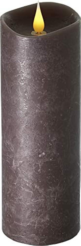 兵器庫力強いイサカエンキンドル 3D LEDキャンドル ラスティクピラー 直径76×高さ235mm ブラウン