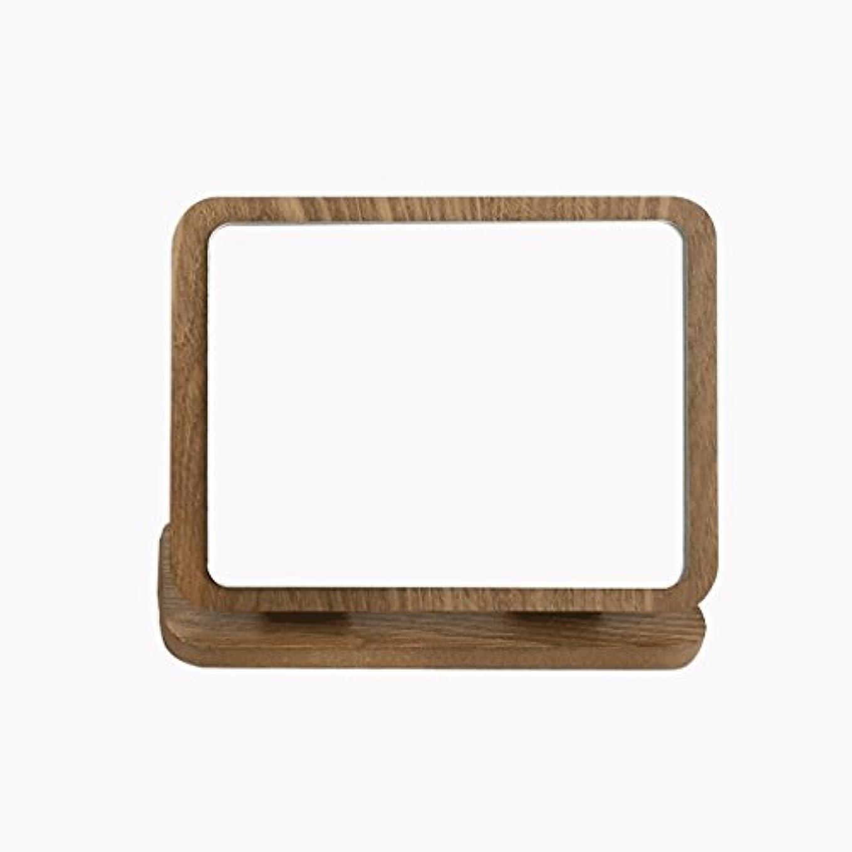 ヒロインどこかにはまって折りたたみメイクアップミラーウッドHDラウンドラウンド片面メイクミラー卓上デスクトップ美容バニティミラー折りたたみ木製アート卓上メイクミラー Xuan - worth having (色 : B)