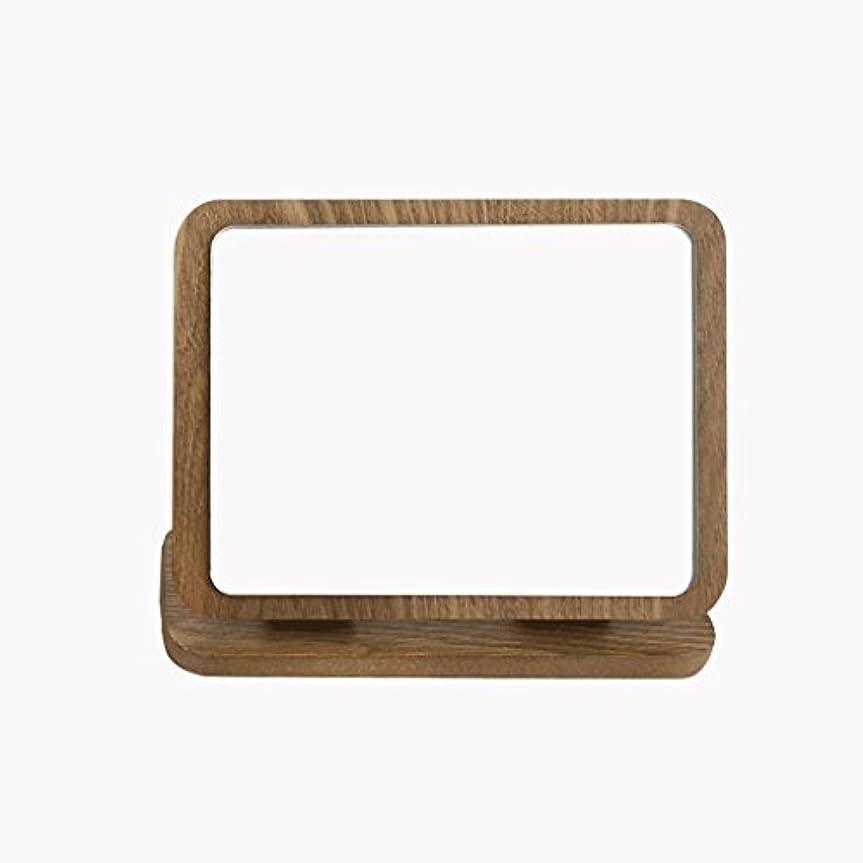 昇進伝染病援助する折りたたみメイクアップミラーウッドHDラウンドラウンド片面メイクミラー卓上デスクトップ美容バニティミラー折りたたみ木製アート卓上メイクミラー Xuan - worth having (色 : B)