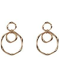 Gold Tone Twisted Loop Drop Earrings