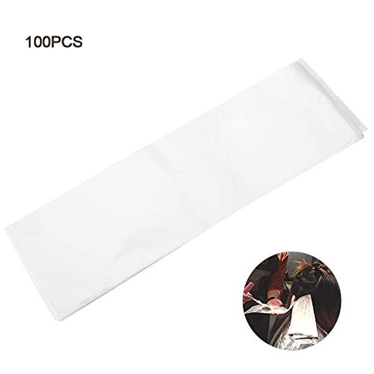 乳製品温度もプロサロンヘアダイペーパー、髪染め用 プラスチック製 染毛紙 再利用可能 分離 紙 ヘアカラー サロン 自宅 DIYヘア染めツール 使用やすい - ホワイト 100枚