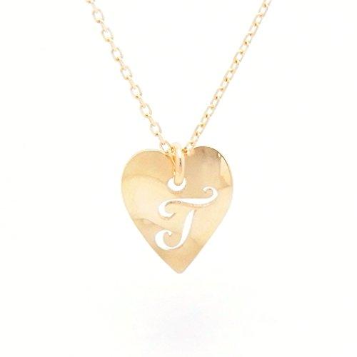 Heart Initial T 18金製 K18 gold ゴールド (日本製 Made in Japan) (金属アレルギー対応) イニシャル 「T」 波型 ハート プレート ペンダント ネックレス チェーン ジュエリー (Amazon.co.jp 限定) [HJ] (40 センチメートル)