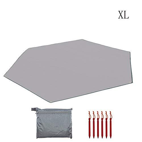 AUWOO 六角形 タープ グランドシート 防水軽量 天幕 テントシート キャンプマット 収納バッグ付き グレー XL