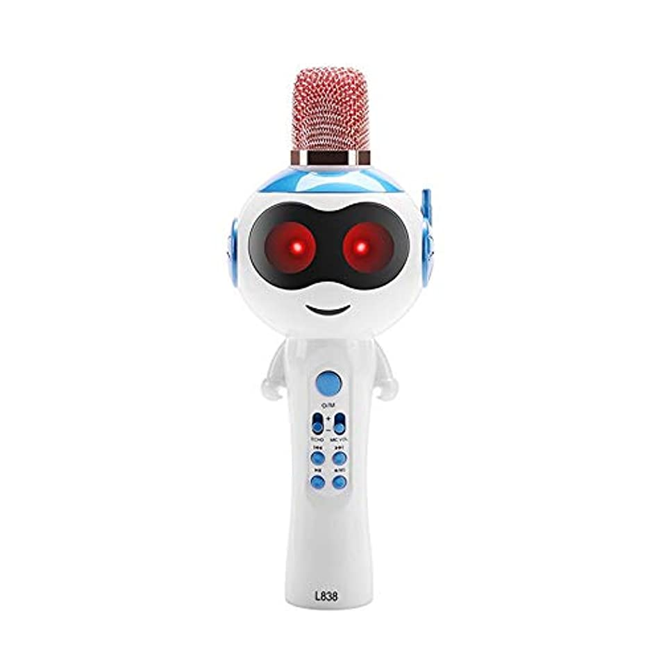 ルー相談する寛大な子供のカラオケマイクワイヤレスオーディオマシンカラオケ歌うヘルパー初期教育機械玩具-ブルー