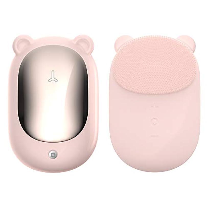 考慮尽きるボイドAirfox 音波洗顔 電動洗顔ブラシ 洗顔とマッサージ両立 食品グレードシリコーン ボデイーブラシ 電動音波洗顔器 温感メイクオフ ボディブラシ 2IN1機能 置物座付き (ピンク)