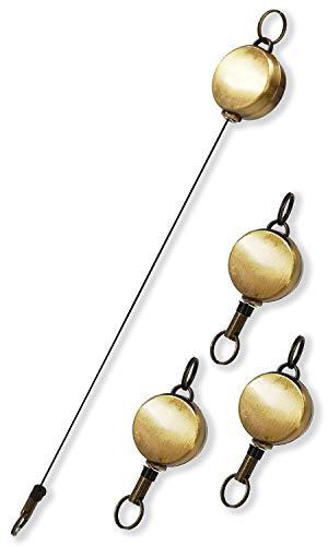 BLUE SINCERE リールキーホルダー ステンレス 強力 ハンドメイド ストラップ 小さい 金具 4個セット 34cm 伸びる RC1