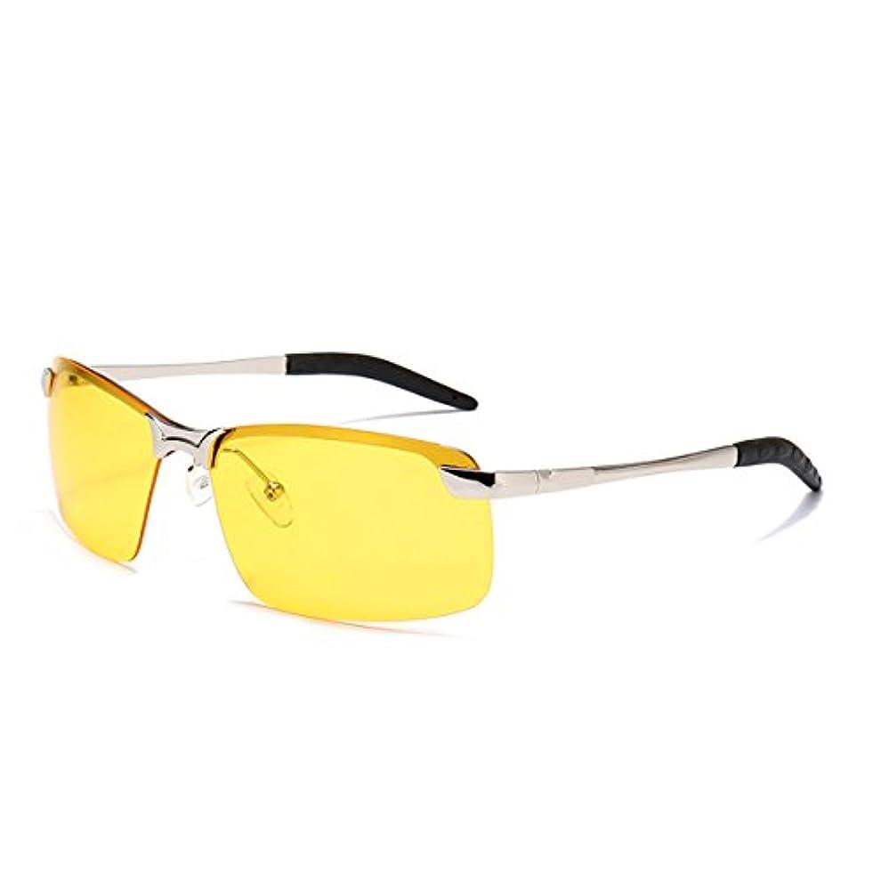 ブランド楽しむ重力金属偏光サングラス メンズ運転用偏光グラス 調整できるブリッジ縁なしのフレーム 紫外線をカット鏡面サングラス