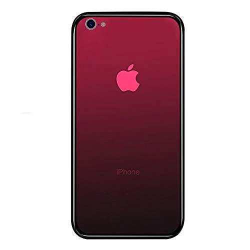 iPhone6 ケース,iPhone6s ケース LAYJOY アイフォン6/6s カバー 強化ガラスケース 透明 背面ハードガラス9H硬度 + ソフトTPUバンパー [耐衝撃 落下防止 軽量 レンズ保護] [Qi充電対応] iPhone 6/6s用 スマホケース (ルビーレッド)