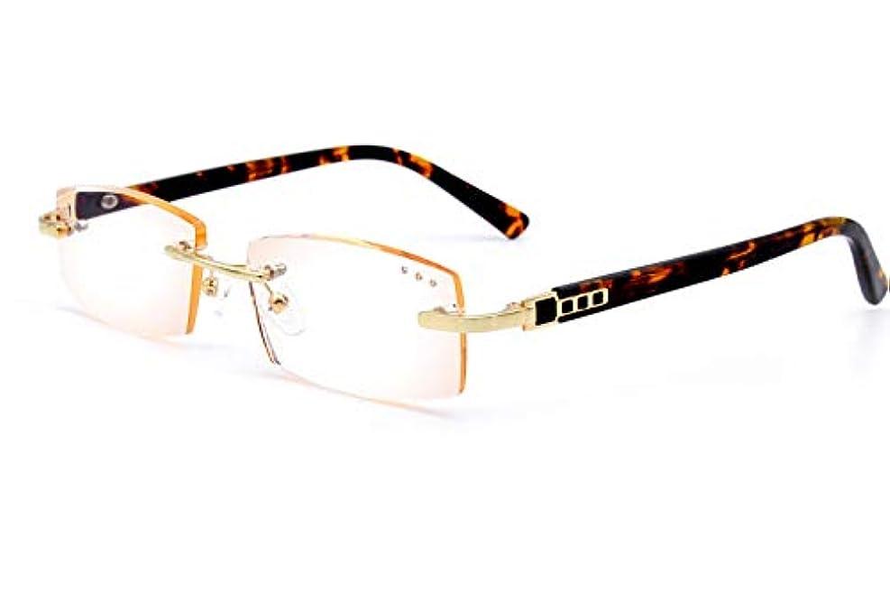 AMILLET メンズリムレス老眼鏡ティントリーダー非球面ポリレンズ +2.0 ブラウン